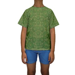 Stars In The Wooden Forest Night In Green Kids  Short Sleeve Swimwear