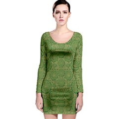 Stars In The Wooden Forest Night In Green Long Sleeve Bodycon Dress