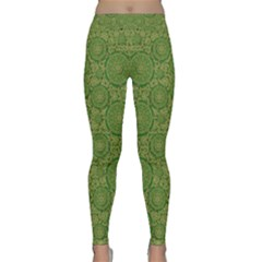 Stars In The Wooden Forest Night In Green Classic Yoga Leggings