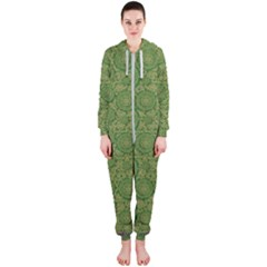 Stars In The Wooden Forest Night In Green Hooded Jumpsuit (ladies)