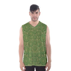 Stars In The Wooden Forest Night In Green Men s Basketball Tank Top