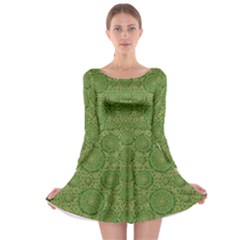 Stars In The Wooden Forest Night In Green Long Sleeve Skater Dress