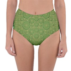 Stars In The Wooden Forest Night In Green Reversible High Waist Bikini Bottoms