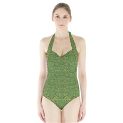 Stars In The Wooden Forest Night In Green Halter Swimsuit