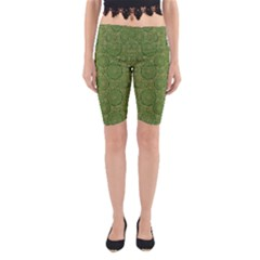 Stars In The Wooden Forest Night In Green Yoga Cropped Leggings
