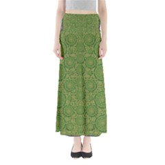Stars In The Wooden Forest Night In Green Full Length Maxi Skirt