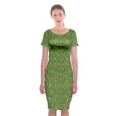 Stars In The Wooden Forest Night In Green Classic Short Sleeve Midi Dress