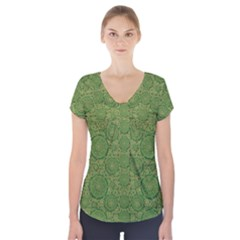 Stars In The Wooden Forest Night In Green Short Sleeve Front Detail Top