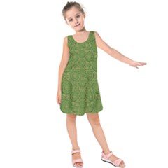Stars In The Wooden Forest Night In Green Kids  Sleeveless Dress