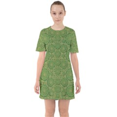 Stars In The Wooden Forest Night In Green Sixties Short Sleeve Mini Dress