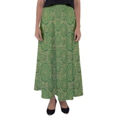 Stars In The Wooden Forest Night In Green Flared Maxi Skirt