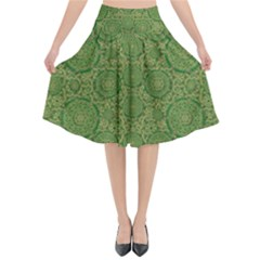 Stars In The Wooden Forest Night In Green Flared Midi Skirt