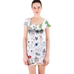 Cheerful Combo Short Sleeve Bodycon Dress