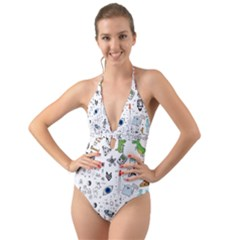 Cheerful Combo Halter Cut Out One Piece Swimsuit