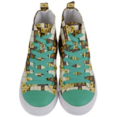 Autumn Leaves Pattern Women s Mid Top Canvas Sneakers