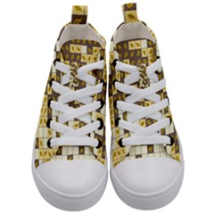 Autumn Leaves Pattern Kid s Mid Top Canvas Sneakers