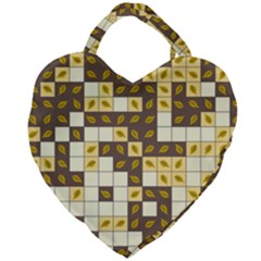 Autumn Leaves Pattern Giant Heart Shaped Tote