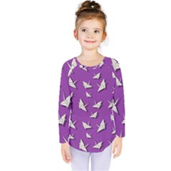 Paper Cranes Pattern Kids  Long Sleeve Tee