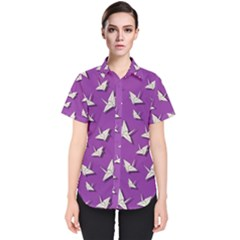Paper Cranes Pattern Women s Short Sleeve Shirt