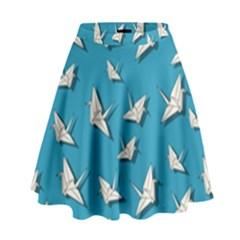 Paper Cranes Pattern High Waist Skirt