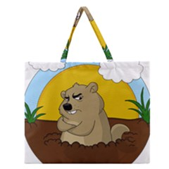 Groundhog Day Zipper Large Tote Bag