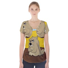Groundhog Day Short Sleeve Front Detail Top