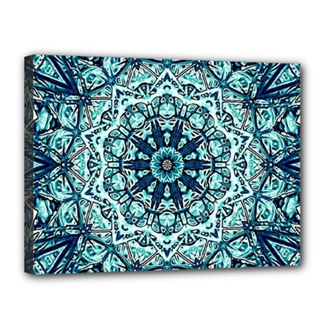 Green Blue Black Mandala  Psychedelic Pattern Canvas 16  X 12