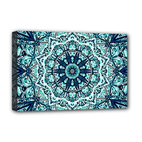 Green Blue Black Mandala  Psychedelic Pattern Deluxe Canvas 18  X 12