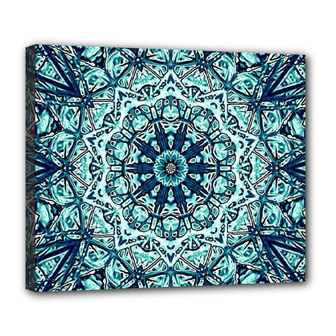 Green Blue Black Mandala  Psychedelic Pattern Deluxe Canvas 24  X 20