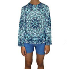 Green Blue Black Mandala  Psychedelic Pattern Kids  Long Sleeve Swimwear