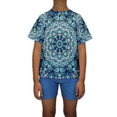 Green Blue Black Mandala  Psychedelic Pattern Kids  Short Sleeve Swimwear