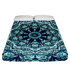 Green Blue Black Mandala  Psychedelic Pattern Fitted Sheet (king Size)