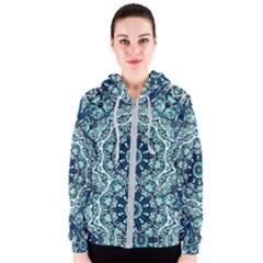 Green Blue Black Mandala  Psychedelic Pattern Women s Zipper Hoodie