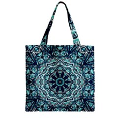 Green Blue Black Mandala  Psychedelic Pattern Zipper Grocery Tote Bag
