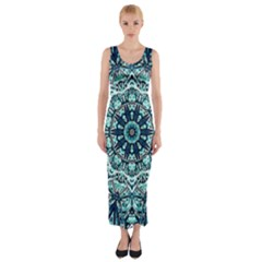 Green Blue Black Mandala  Psychedelic Pattern Fitted Maxi Dress