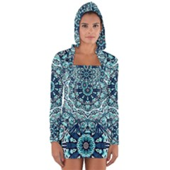 Green Blue Black Mandala  Psychedelic Pattern Long Sleeve Hooded T Shirt