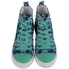 Green Blue Black Mandala  Psychedelic Pattern Women s Mid Top Canvas Sneakers