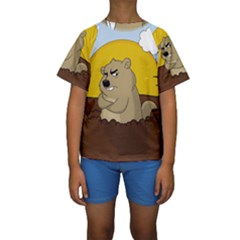 Groundhog Day Kids  Short Sleeve Swimwear