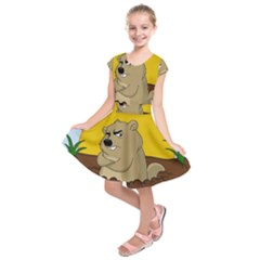 Groundhog Day Kids  Short Sleeve Dress
