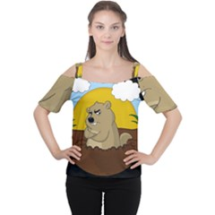 Groundhog Day Cutout Shoulder Tee