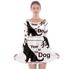 Year Of The Dog   Chinese New Year Long Sleeve Skater Dress
