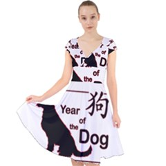 Year Of The Dog   Chinese New Year Cap Sleeve Front Wrap Midi Dress