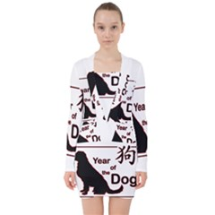Year Of The Dog   Chinese New Year V Neck Bodycon Long Sleeve Dress