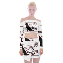 Year Of The Dog   Chinese New Year Off Shoulder Top With Mini Skirt Set