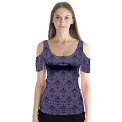 Color Of The Year 2018   Ultraviolet   Art Deco Black Edition Butterfly Sleeve Cutout Tee