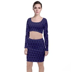 Color Of The Year 2018   Ultraviolet   Art Deco Black Edition Long Sleeve Crop Top & Bodycon Skirt Set