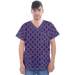 Color Of The Year 2018   Ultraviolet   Art Deco Black Edition  Men s V Neck Scrub Top
