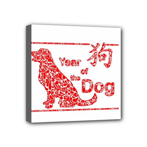 Year Of The Dog   Chinese New Year Mini Canvas 4  X 4