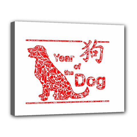 Year Of The Dog   Chinese New Year Canvas 14  X 11