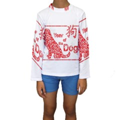 Year Of The Dog   Chinese New Year Kids  Long Sleeve Swimwear